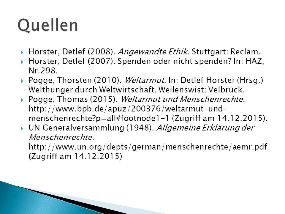  Horster, Detlef (2008). Angewandte Ethik. Stuttgart: Reclam.