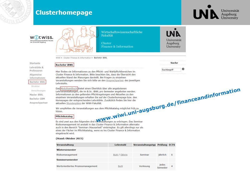 Clusterhomepage www.wiwi.uni-augsburg.de/financeandinformation