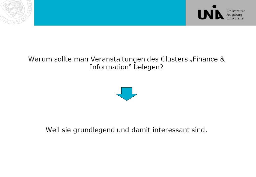 Einige Tipps für das Studium im Cluster F&I  Wählen Sie Ihre Module nach Interesse UND Berufsaussichten.