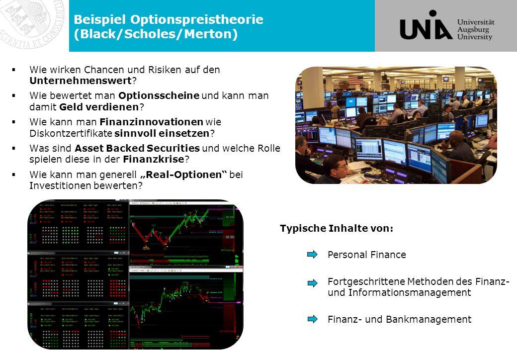 Beispiel Optionspreistheorie (Black/Scholes/Merton)  Wie wirken Chancen und Risiken auf den Unternehmenswert.