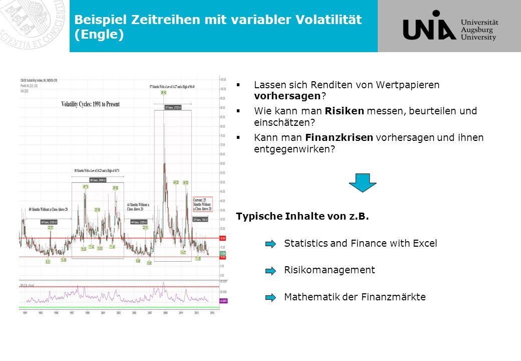 Beispiel Zeitreihen mit variabler Volatilität (Engle)  Lassen sich Renditen von Wertpapieren vorhersagen.
