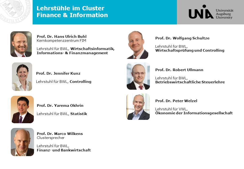 Lehrstühle im Cluster Finance & Information Prof. Dr.