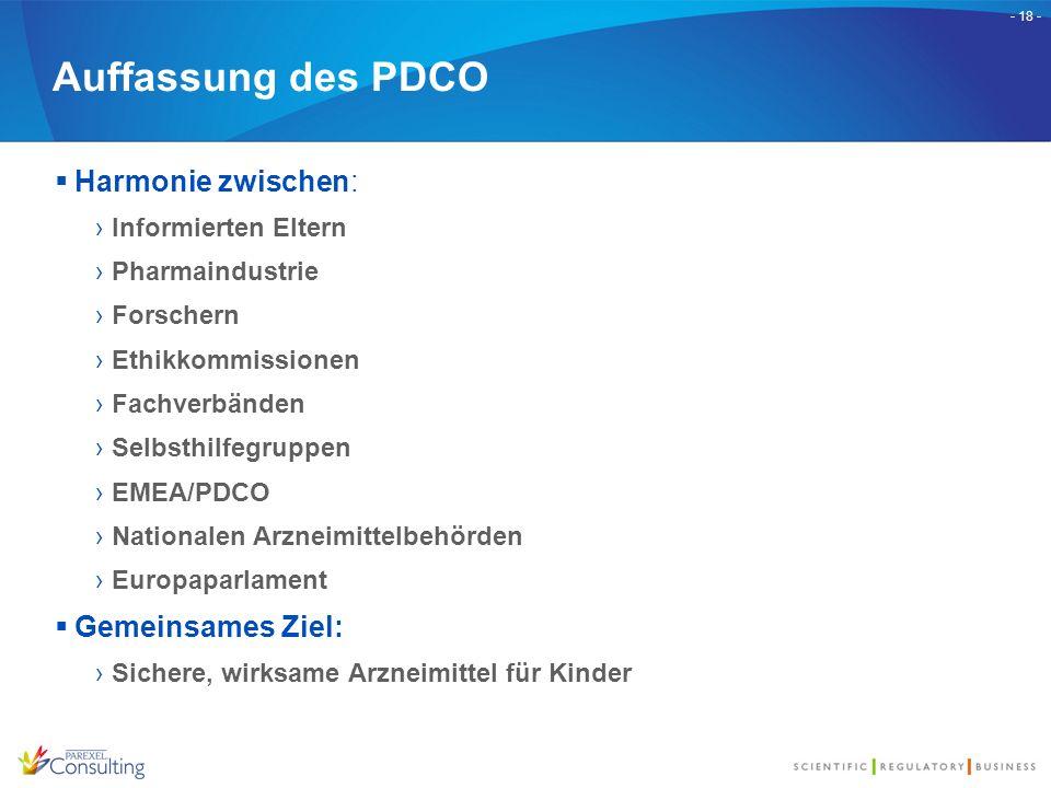 - 18 - Auffassung des PDCO  Harmonie zwischen: ›Informierten Eltern ›Pharmaindustrie ›Forschern ›Ethikkommissionen ›Fachverbänden ›Selbsthilfegruppen