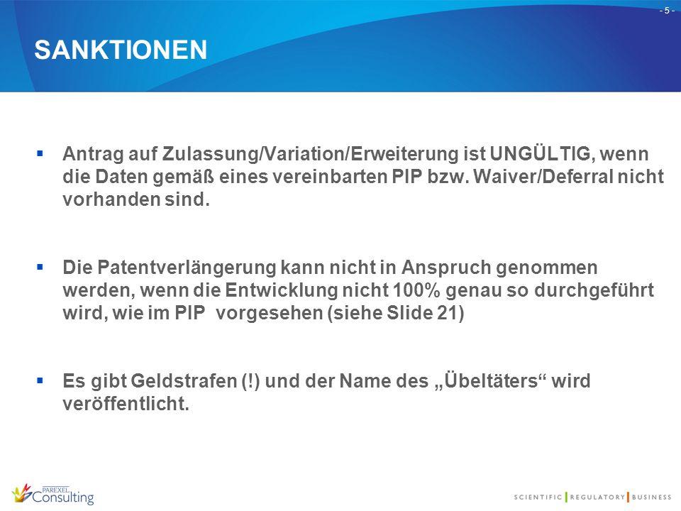 - 5 - SANKTIONEN  Antrag auf Zulassung/Variation/Erweiterung ist UNGÜLTIG, wenn die Daten gemäß eines vereinbarten PIP bzw. Waiver/Deferral nicht vor
