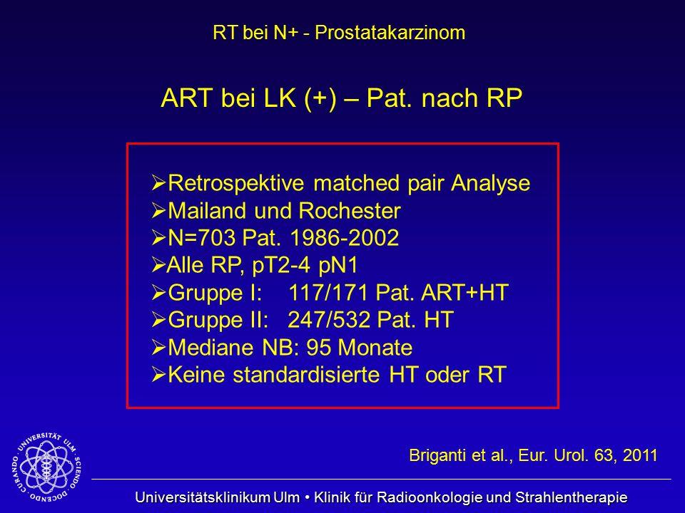 Universitätsklinikum Ulm Klinik für Radioonkologie und Strahlentherapie RT bei N+ - Prostatakarzinom Briganti et al., Eur. Urol. 63, 2011 ART bei LK (