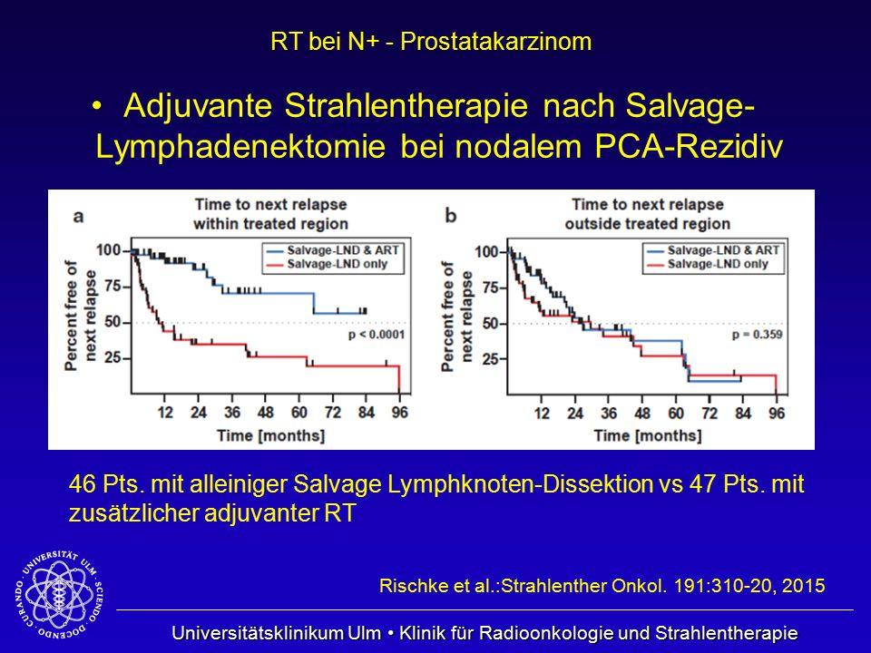 Universitätsklinikum Ulm Klinik für Radioonkologie und Strahlentherapie RT bei N+ - Prostatakarzinom Adjuvante Strahlentherapie nach Salvage- Lymphade