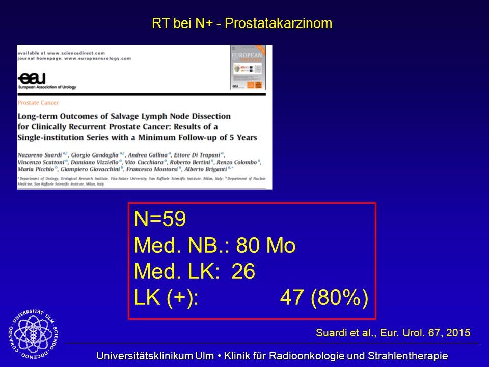 Universitätsklinikum Ulm Klinik für Radioonkologie und Strahlentherapie RT bei N+ - Prostatakarzinom Suardi et al., Eur. Urol. 67, 2015 N=59 Med. NB.: