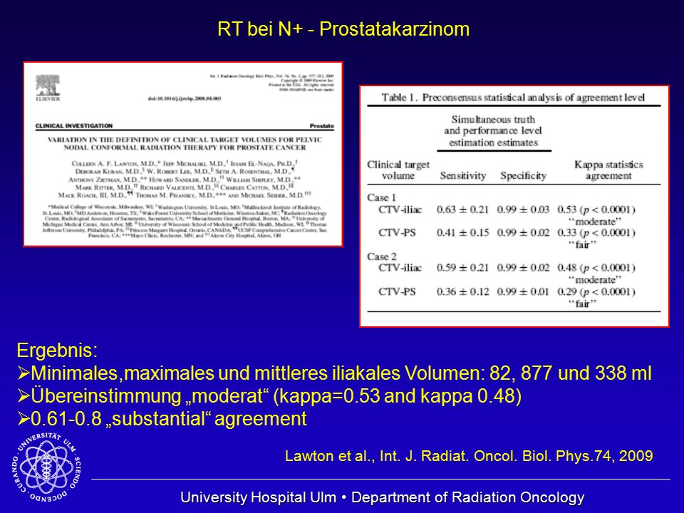 University Hospital Ulm Department of Radiation Oncology RT bei N+ - Prostatakarzinom Lawton et al., Int. J. Radiat. Oncol. Biol. Phys.74, 2009 Ergebn