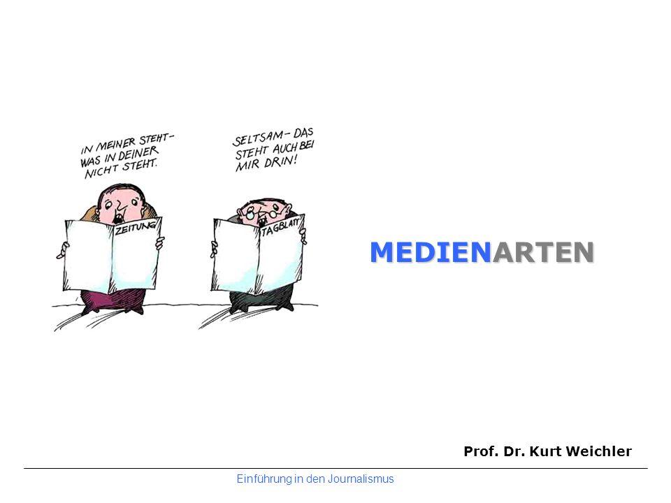 MEDIENARTEN Prof. Dr. Kurt Weichler Einführung in den Journalismus