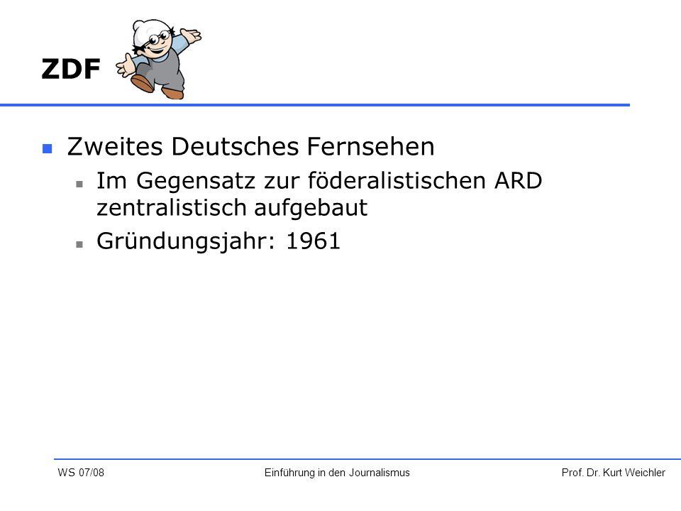 ZDF Zweites Deutsches Fernsehen Im Gegensatz zur föderalistischen ARD zentralistisch aufgebaut Gründungsjahr: 1961 Prof. Dr. Kurt WeichlerEinführung i