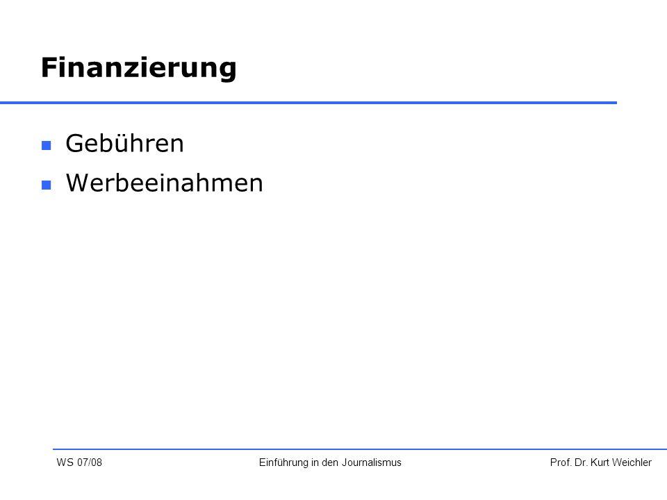 Finanzierung Gebühren Werbeeinahmen Prof. Dr. Kurt WeichlerEinführung in den Journalismus WS 07/08