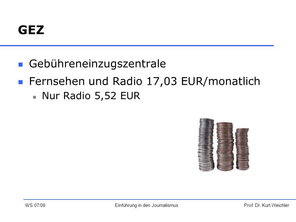 GEZ Gebühreneinzugszentrale Fernsehen und Radio 17,03 EUR/monatlich Nur Radio 5,52 EUR Prof. Dr. Kurt WeichlerEinführung in den Journalismus WS 07/08