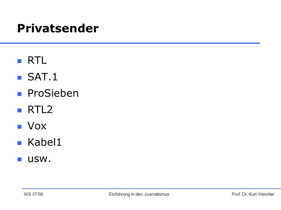 Privatsender RTL SAT.1 ProSieben RTL2 Vox Kabel1 usw. Prof. Dr. Kurt WeichlerEinführung in den Journalismus WS 07/08