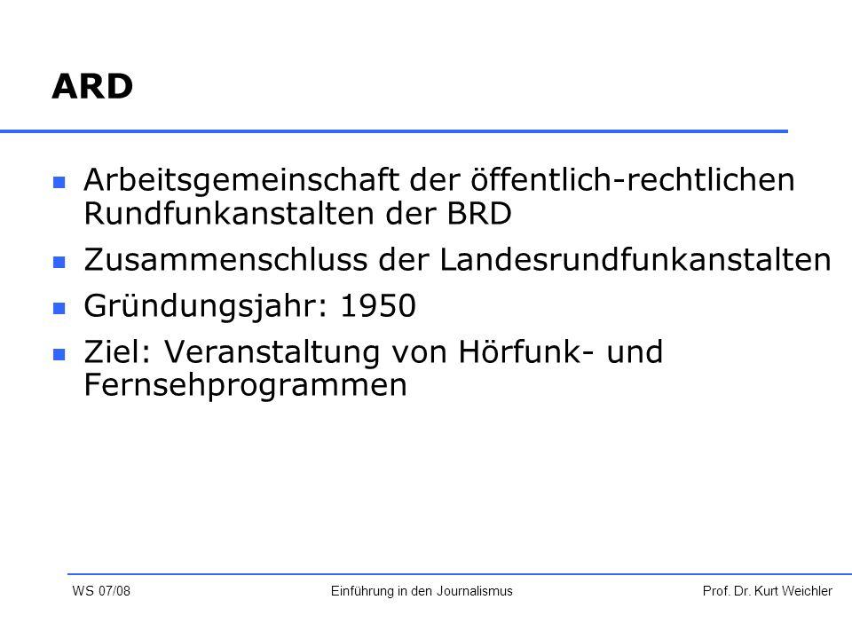 ARD Arbeitsgemeinschaft der öffentlich-rechtlichen Rundfunkanstalten der BRD Zusammenschluss der Landesrundfunkanstalten Gründungsjahr: 1950 Ziel: Ver