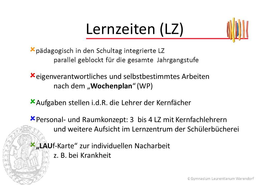 """ pädagogisch in den Schultag integrierte LZ parallel geblockt für die gesamte Jahrgangstufe  eigenverantwortliches und selbstbestimmtes Arbeiten nach dem """"Wochenplan (WP)  Aufgaben stellen i.d.R."""