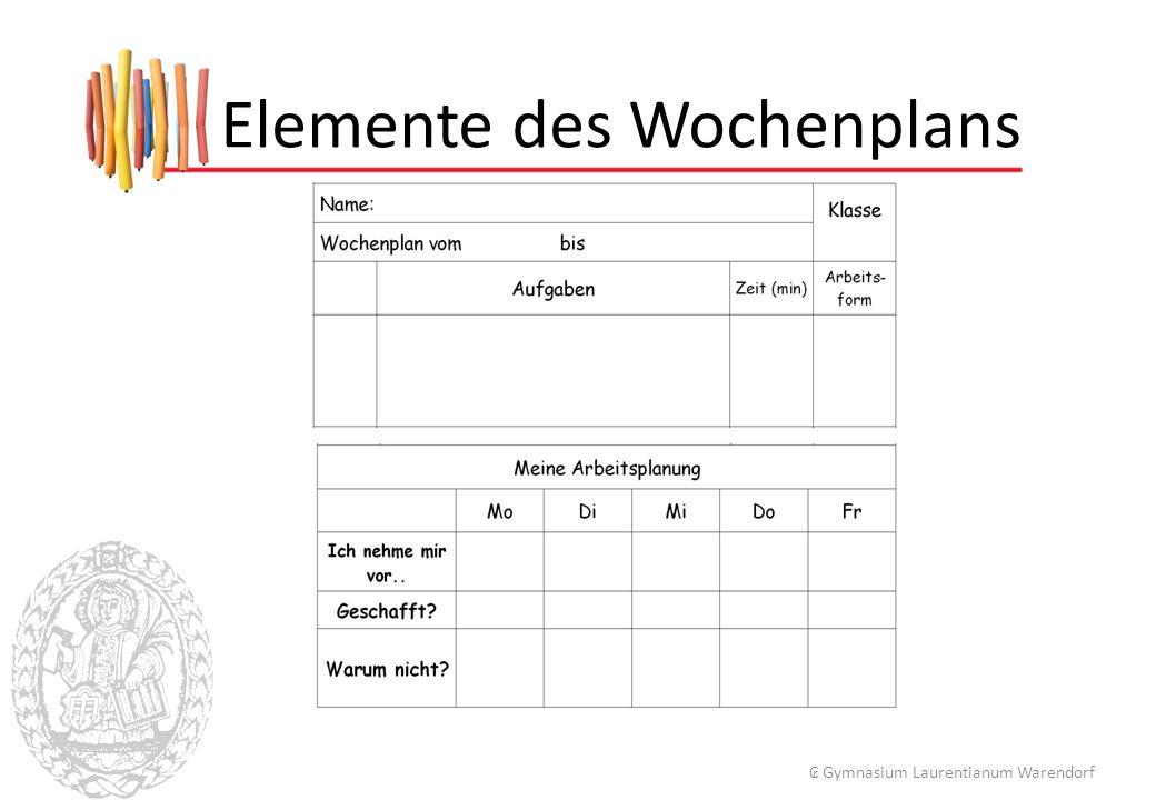 Elemente des Wochenplans ₢ Gymnasium Laurentianum Warendorf
