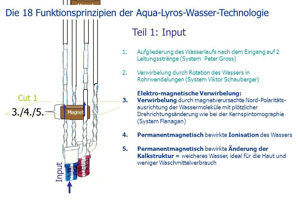 Teil 1: Input Magnet Input Cut 1 1.Aufgliederung des Wasserlaufs nach dem Eingang auf 2 Leitungsstränge (System Peter Gross) 2.Verwirbelung durch Rotation des Wassers in Rohrwendelungen (System Viktor Schauberger) Elektro-magnetische Verwirbelung: 3.Verwirbelung durch magnetverursachte Nord-Polaritäts- ausrichtung der Wassermoleküle mit plötzlicher Drehrichtungsänderung wie bei der Kernspintomographie (System Flanagan) 4.Permanentmagnetisch bewirkte Ionisation des Wassers 5.Permanentmagnetisch bewirkte Änderung der Kalkstruktur = weicheres Wasser, ideal für die Haut und weniger Waschmittelverbrauch 3./4./5.