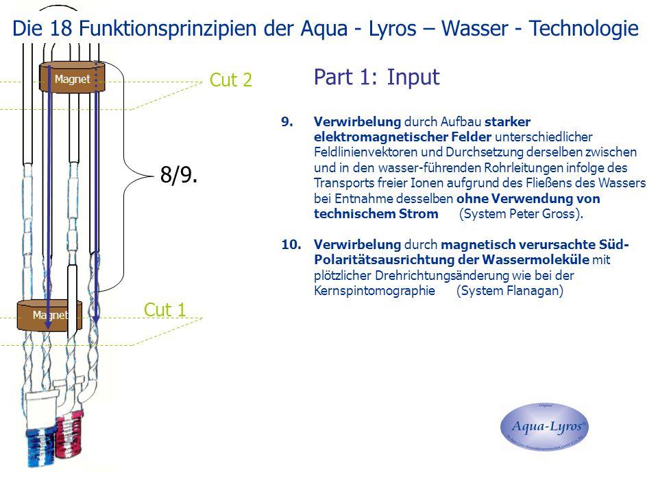 Magnet Cut 1 Cut 2 9.Verwirbelung durch Aufbau starker elektromagnetischer Felder unterschiedlicher Feldlinienvektoren und Durchsetzung derselben zwischen und in den wasser-führenden Rohrleitungen infolge des Transports freier Ionen aufgrund des Fließens des Wassers bei Entnahme desselben ohne Verwendung von technischem Strom (System Peter Gross).