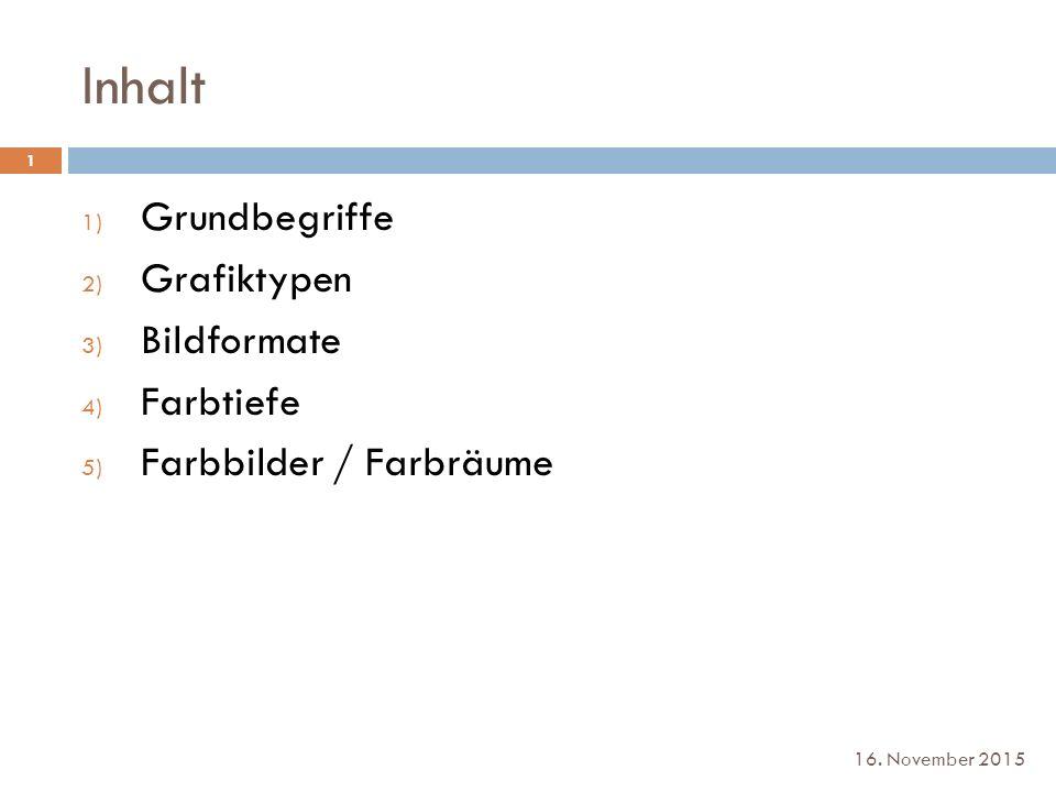 Farbbilder / Farbräume 1.Cyan 2. Magenta 3. Gelb (Y) 4.