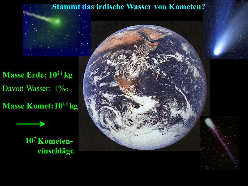 Masse Erde: 10 24 kg Davon Wasser: 1% o Masse Komet:10 14 kg 10 7 Kometen- einschläge Stammt das irdische Wasser von Kometen?