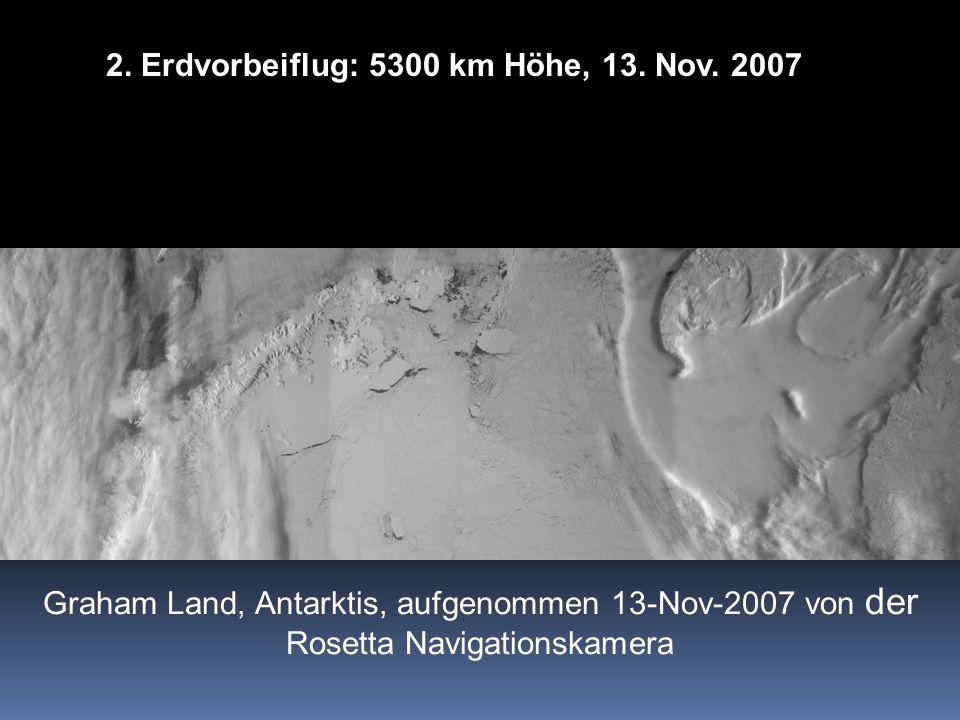 Graham Land, Antarktis, aufgenommen 13-Nov-2007 von der Rosetta Navigationskamera 2. Erdvorbeiflug: 5300 km Höhe, 13. Nov. 2007