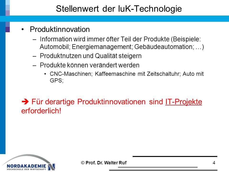 Stellenwert der IuK-Technologie Produktinnovation –Information wird immer öfter Teil der Produkte (Beispiele: Automobil; Energiemanagement; Gebäudeautomation; …) –Produktnutzen und Qualität steigern –Produkte können verändert werden CNC-Maschinen; Kaffeemaschine mit Zeitschaltuhr; Auto mit GPS;  Für derartige Produktinnovationen sind IT-Projekte erforderlich.