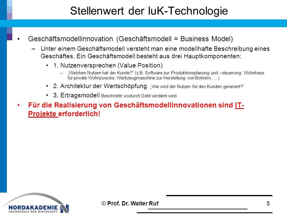 Stellenwert der IuK-Technologie Geschäftsmodellinnovation (Geschäftsmodell = Business Model) –Unter einem Geschäftsmodell versteht man eine modellhaft