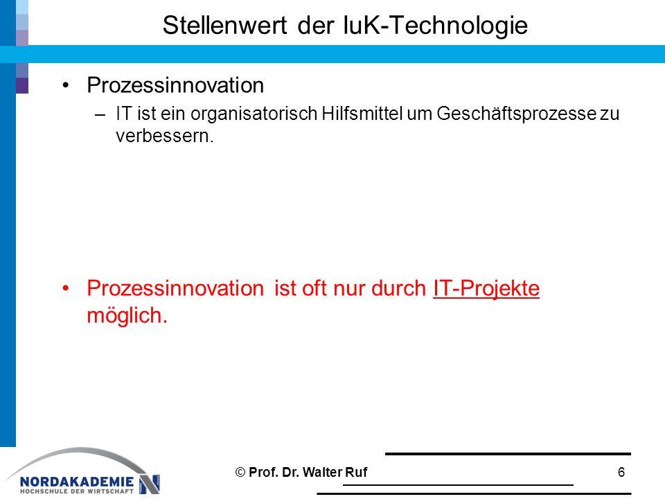 Stellenwert der IuK-Technologie Prozessinnovation –IT ist ein organisatorisch Hilfsmittel um Geschäftsprozesse zu verbessern. Prozessinnovation ist of