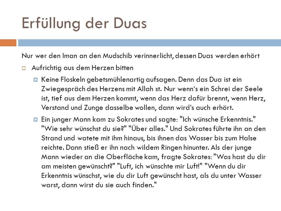 Erfüllung der Duas Nur wer den Iman an den Mudschib verinnerlicht, dessen Duas werden erhört  Aufrichtig aus dem Herzen bitten  Keine Floskeln gebet