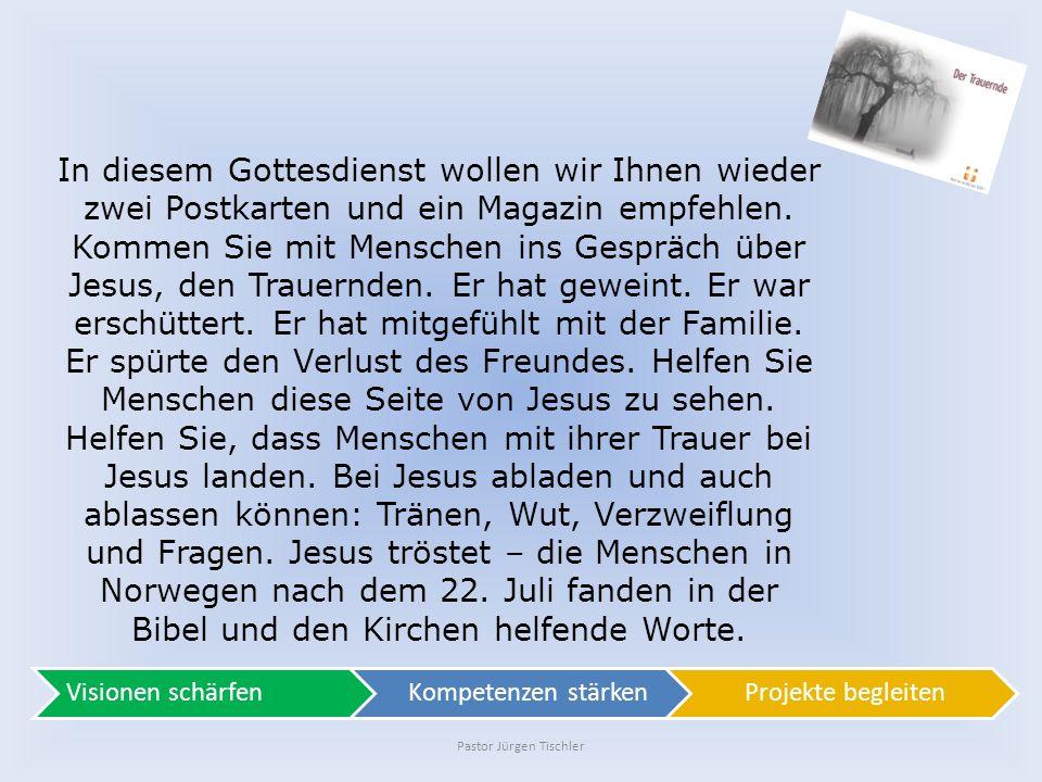 """Pastor Jürgen Tischler Pastor Jürgen Tischler, vom Landesverband NOSA """"Trauer ist keine Krankheit, sondern eine lebenswichtige Reaktion."""