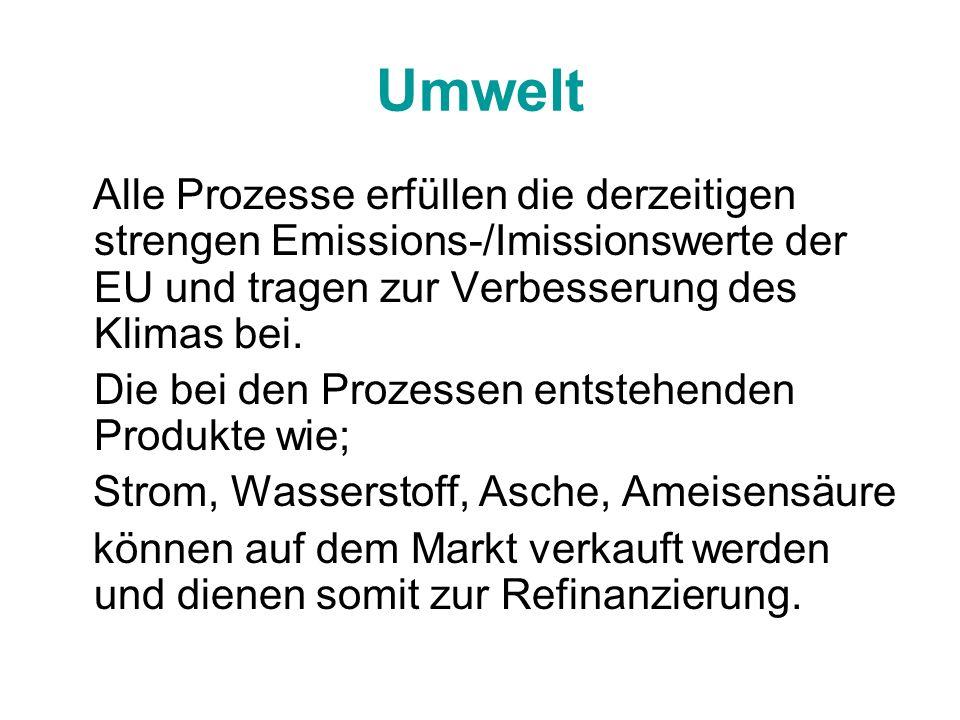 Umwelt Alle Prozesse erfüllen die derzeitigen strengen Emissions-/Imissionswerte der EU und tragen zur Verbesserung des Klimas bei. Die bei den Prozes