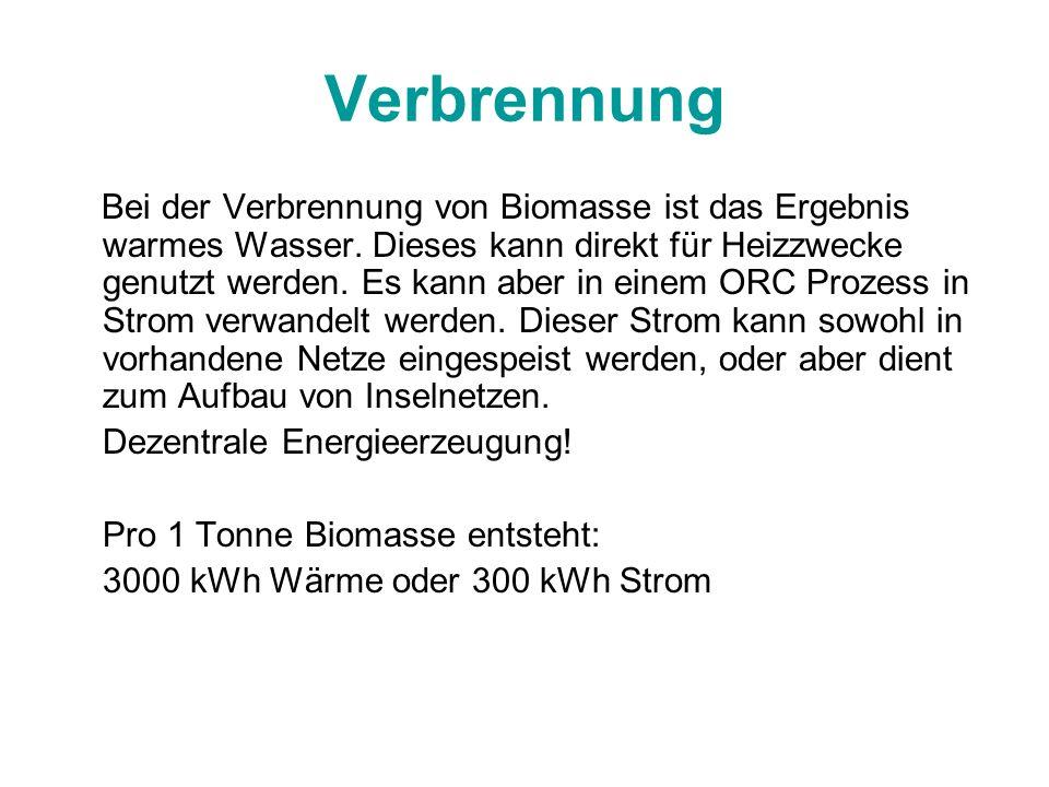Verbrennung Bei der Verbrennung von Biomasse ist das Ergebnis warmes Wasser. Dieses kann direkt für Heizzwecke genutzt werden. Es kann aber in einem O