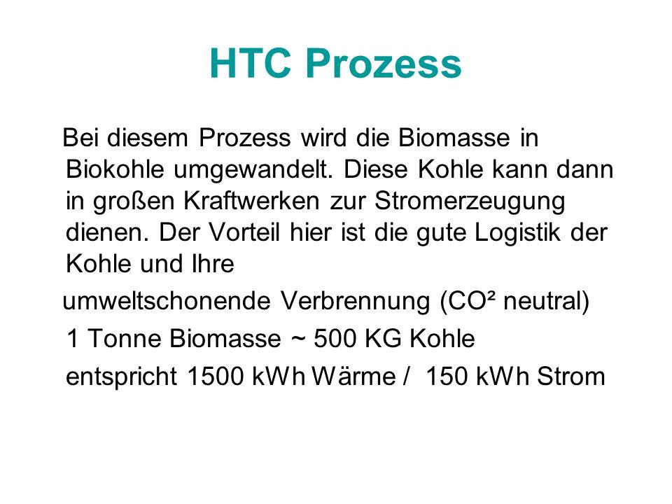 HTC Prozess Bei diesem Prozess wird die Biomasse in Biokohle umgewandelt. Diese Kohle kann dann in großen Kraftwerken zur Stromerzeugung dienen. Der V