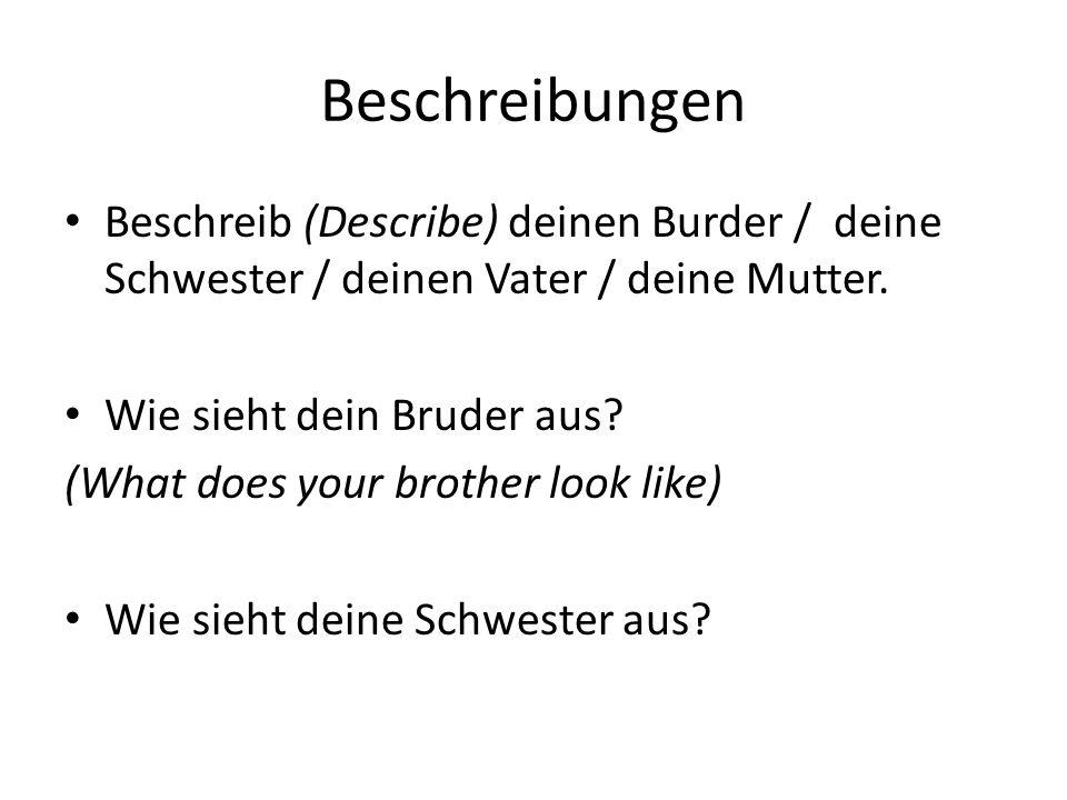 Beschreibungen Beschreib (Describe) deinen Burder / deine Schwester / deinen Vater / deine Mutter.