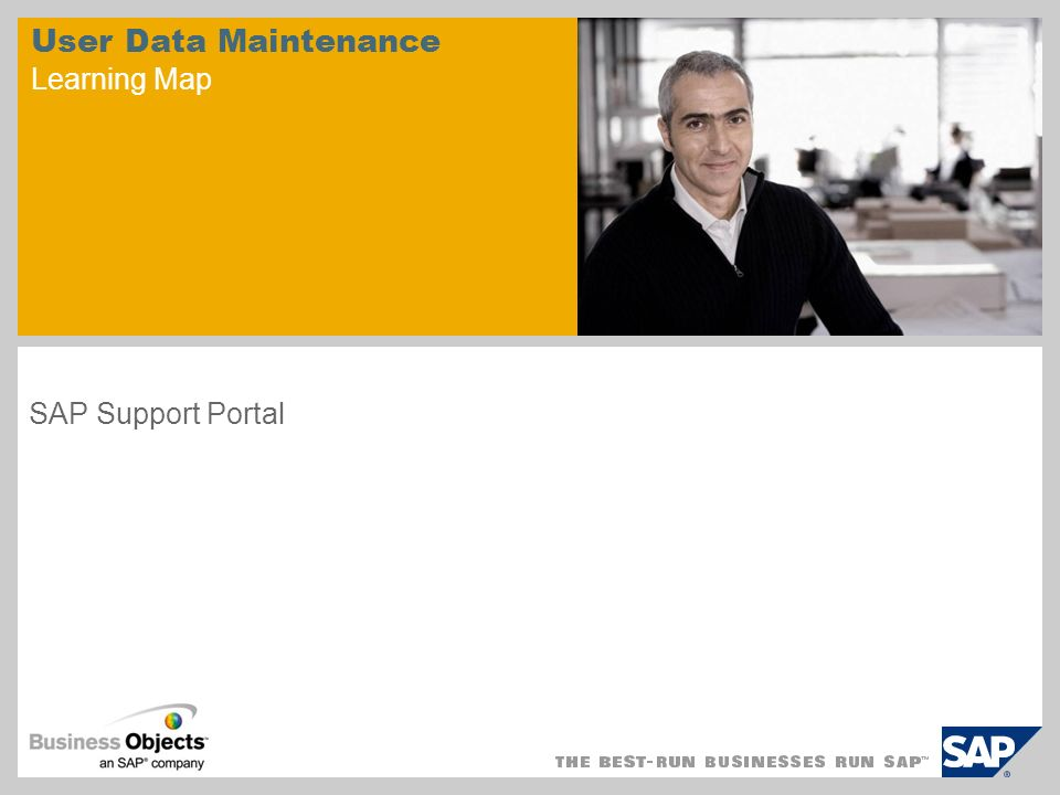 User Data Maintenance Learning Map SAP Support Portal