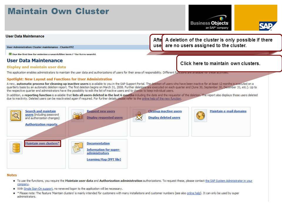 Maintain Own Cluster Create and maintain own clusters (value ranges) – only relevant for customers with many installations and debitors.