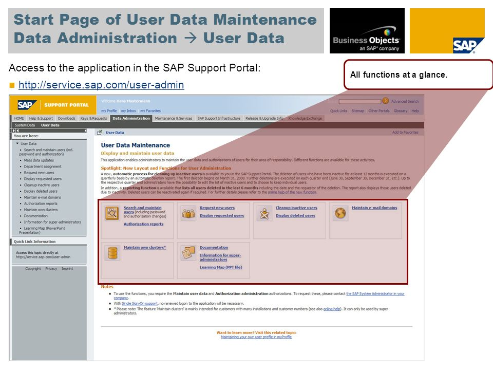 Start Page of User Data Maintenance Data Administration  User Data Access to the application in the SAP Support Portal: http://service.sap.com/user-admin All functions at a glance.