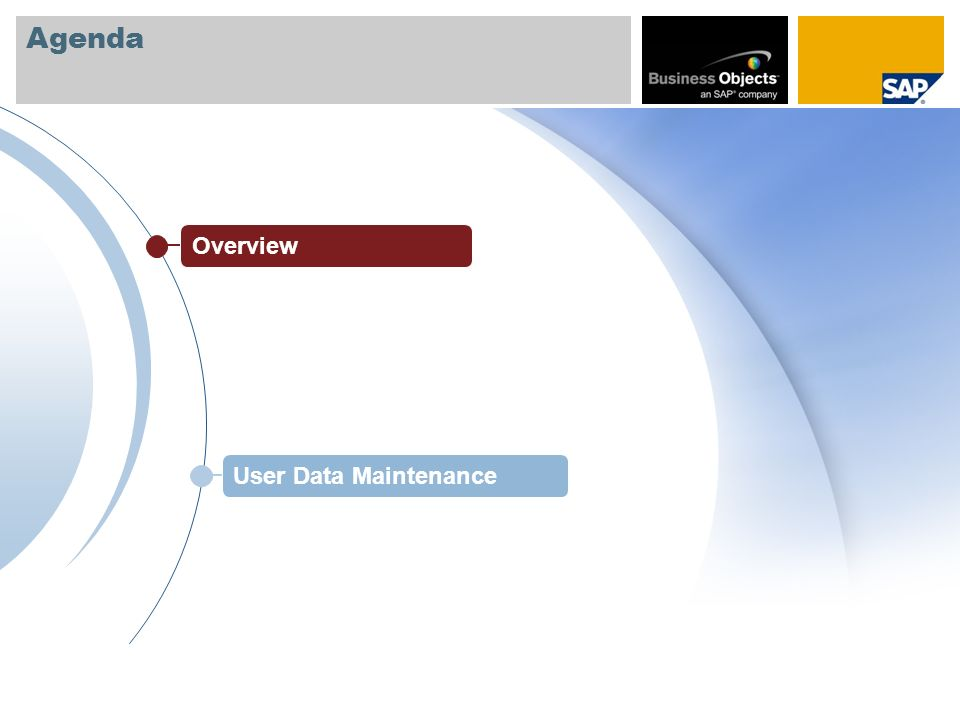 Agenda Overview User Data Maintenance