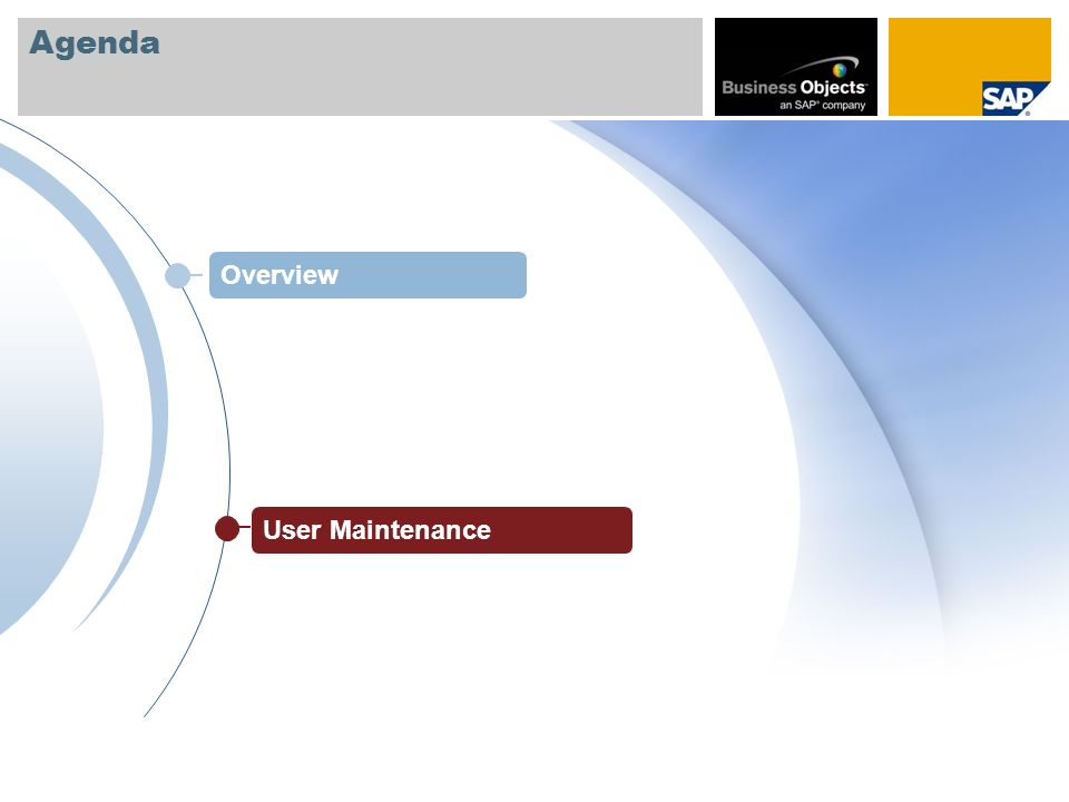 Agenda Overview User Maintenance