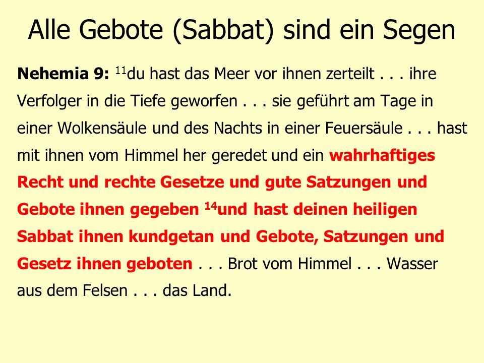 Alle Gebote (Sabbat) sind ein Segen Nehemia 9: 11 du hast das Meer vor ihnen zerteilt... ihre Verfolger in die Tiefe geworfen... sie geführt am Tage i