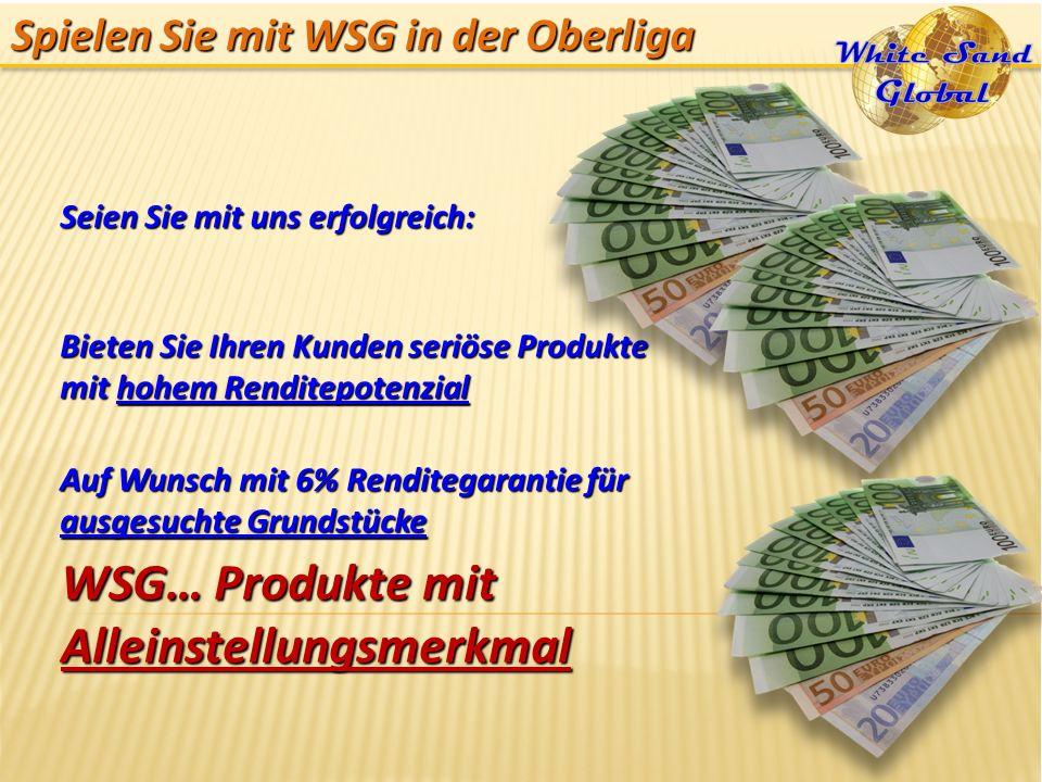 Spielen Sie mit WSG in der Oberliga Seien Sie mit uns erfolgreich: Bieten Sie Ihren Kunden seriöse Produkte mit hohem Renditepotenzial Auf Wunsch mit
