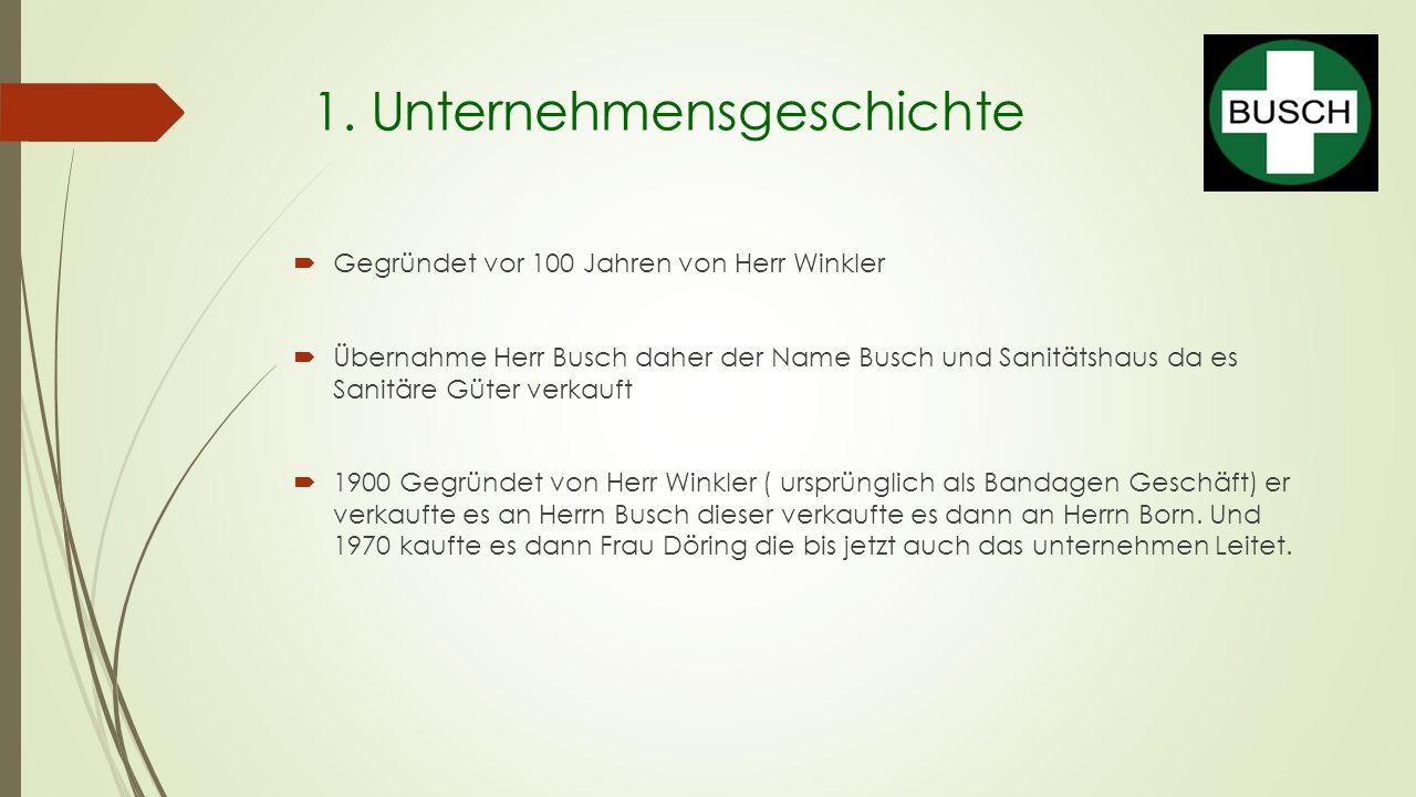 1. Unternehmensgeschichte  Gegründet vor 100 Jahren von Herr Winkler  Übernahme Herr Busch daher der Name Busch und Sanitätshaus da es Sanitäre Güte
