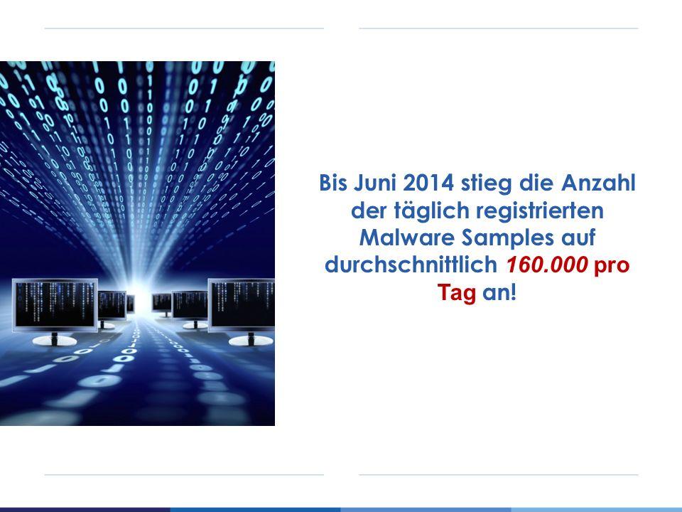 Bis Juni 2014 stieg die Anzahl der täglich registrierten Malware Samples auf durchschnittlich 160.000 pro Tag an!