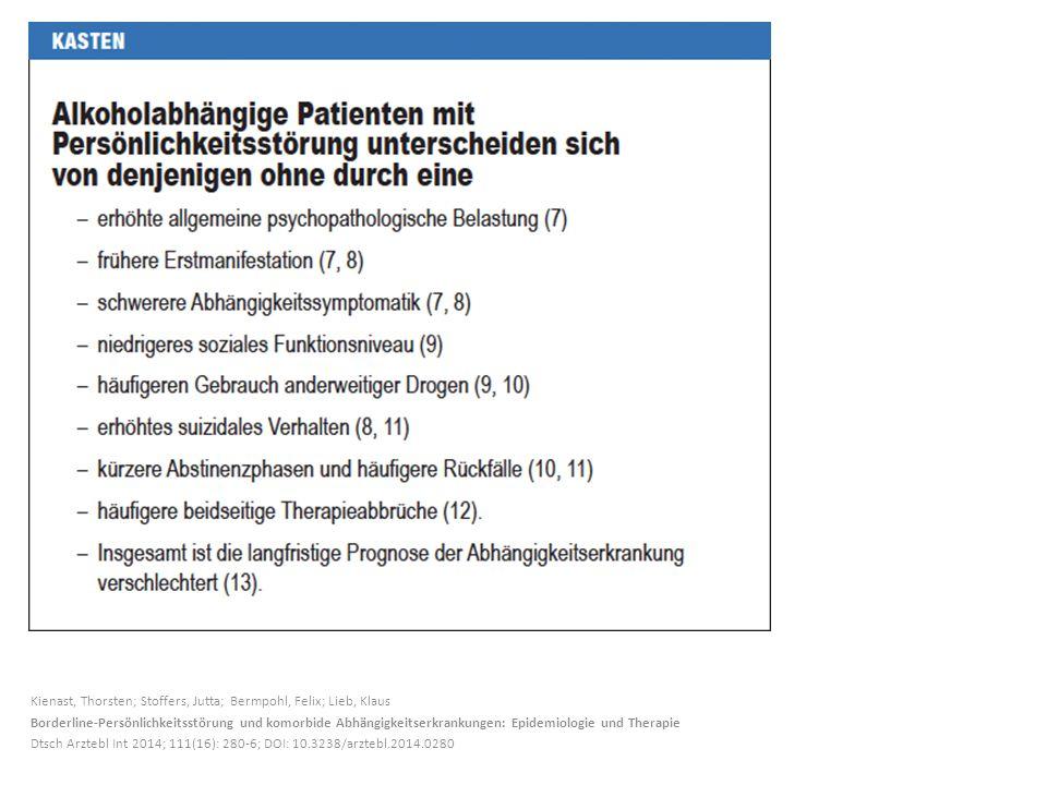Kienast, Thorsten; Stoffers, Jutta; Bermpohl, Felix; Lieb, Klaus Borderline-Persönlichkeitsstörung und komorbide Abhängigkeitserkrankungen: Epidemiologie und Therapie Dtsch Arztebl Int 2014; 111(16): 280-6; DOI: 10.3238/arztebl.2014.0280