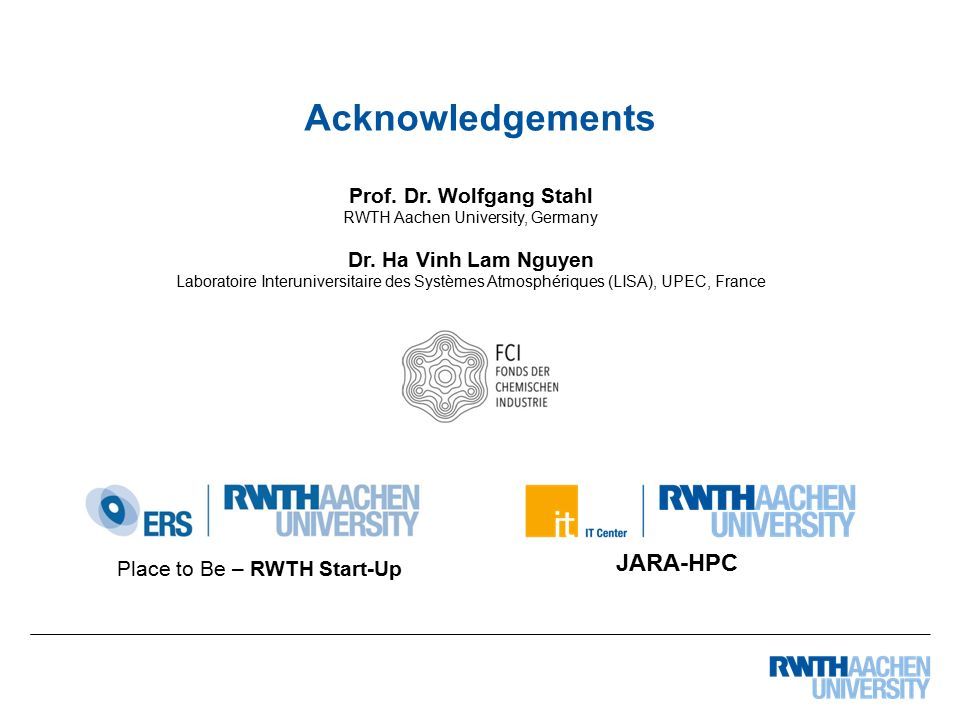 Place to Be – RWTH Start-Up Acknowledgements Prof.