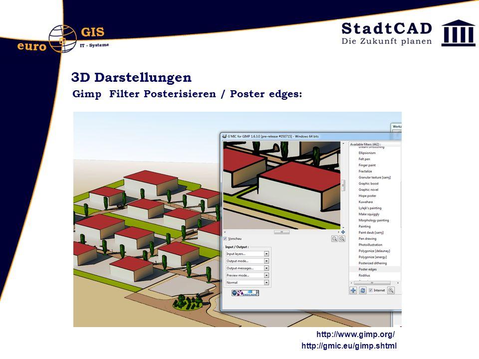 3D Darstellungen Gimp Filter Posterisieren / Poster edges: http://gmic.eu/gimp.shtml http://www.gimp.org/