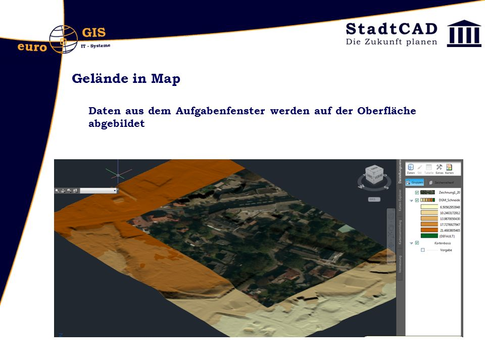 Gelände in Map Daten aus dem Aufgabenfenster werden auf der Oberfläche abgebildet