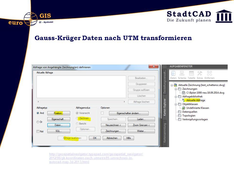 Gauss-Krüger Daten nach UTM transformieren http://geospatialnavigator.typepad.com/geospatial_navigator/ 2012/06/gk-koordinaten-nach-utmetrs89-umrechne
