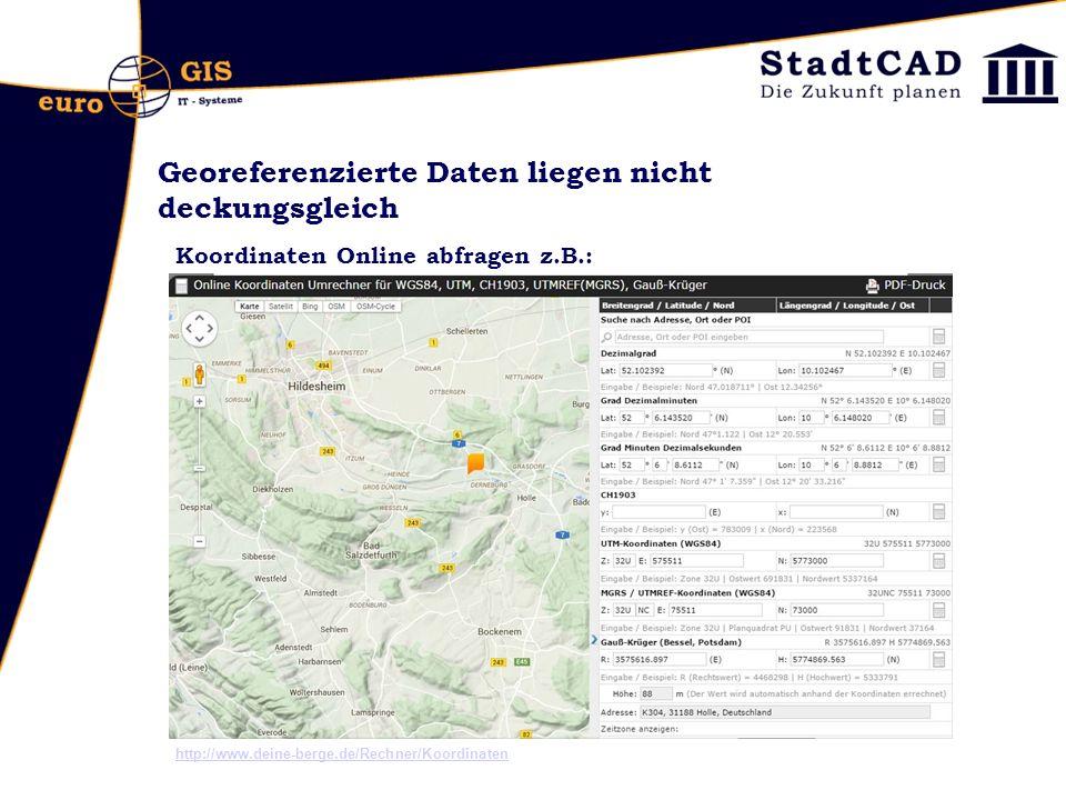 Georeferenzierte Daten liegen nicht deckungsgleich Koordinaten Online abfragen z.B.: http://www.deine-berge.de/Rechner/Koordinaten