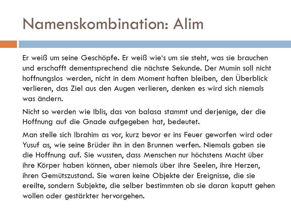 Namenskombination: Alim Er weiß um seine Geschöpfe.